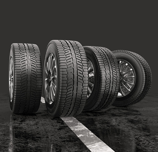 Car Tyres Rolling on Road
